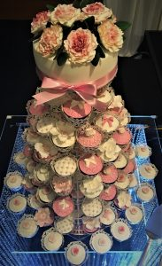 cupcake tower with sugar flowers