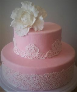 light pink 2 tier wedding cake