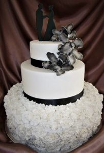 3 tier black & white wedding cake