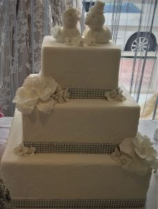 3 tier love birds wedding cake