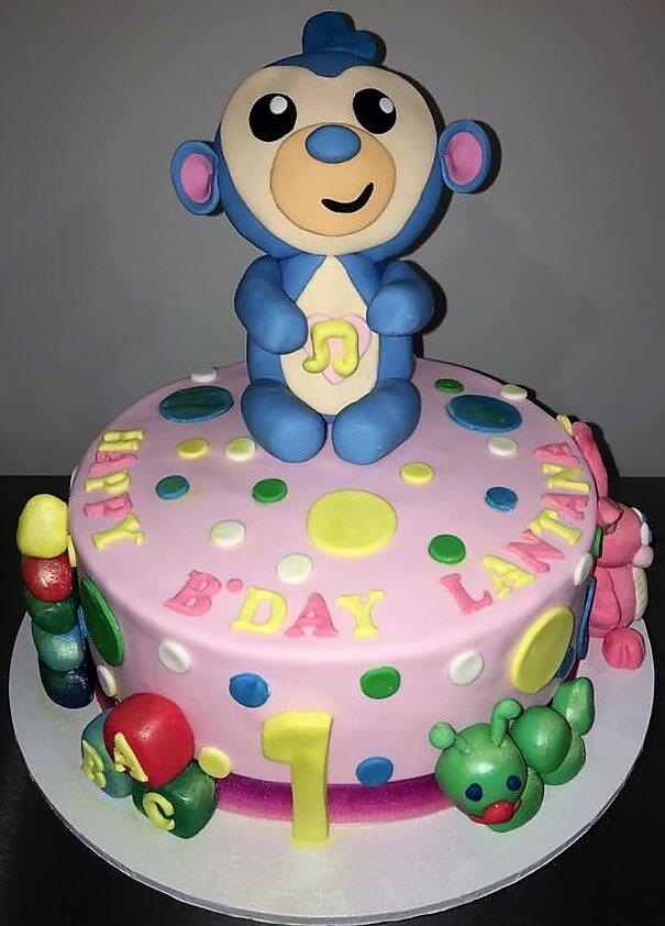 monkey first birthday cake