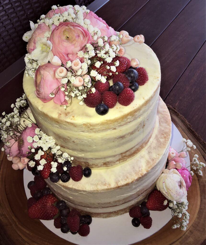 naked buttercream wedding cake