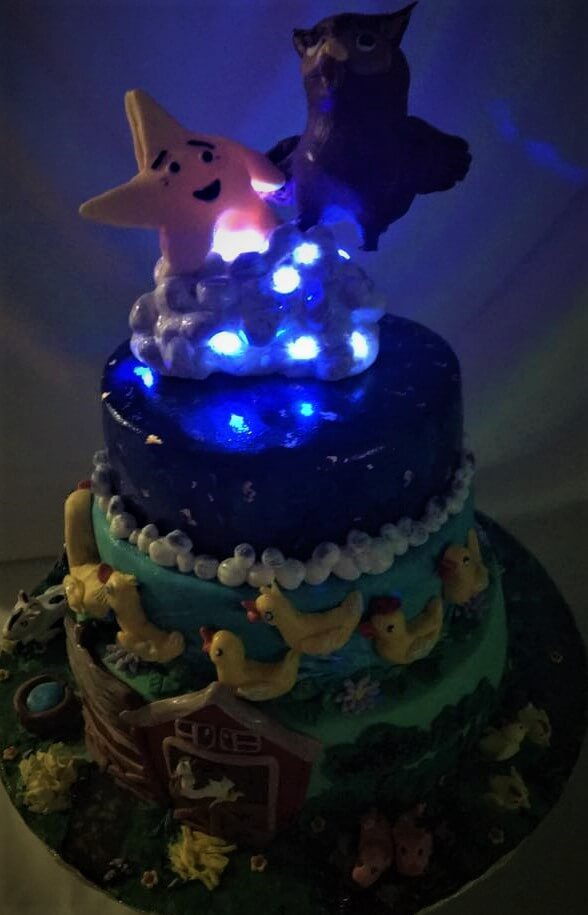 nursery rhym birthday cake with lights