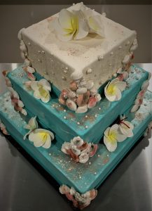 beached themed wedding cake