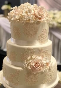 rimma;s wedding cakes 3 tier fondant wedding cake with fine stencil work and sugar flowers