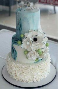 marble finished wedding cake