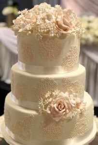wedding cake with stunning stencil work