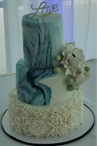 3 tier wedding cake with marble finish