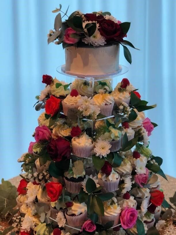 cupcake tower and fresh flowers