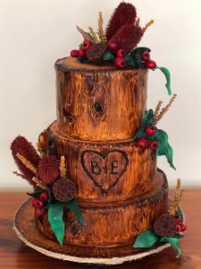 timber themed three tier wedding cake from rimma's wedding cakes perth