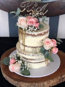 amazing two tier rustic wedding cake with extra high tiers
