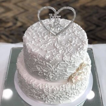 2 tier royal icing wedding cake