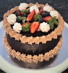 chocolate birthday cake with fresh fruit