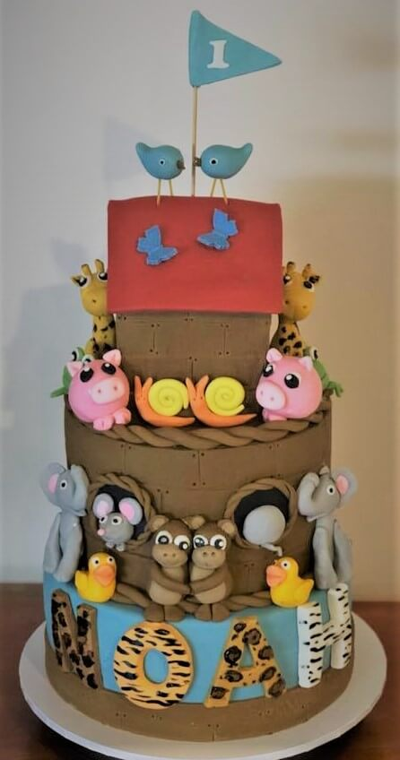 noah's ark 1st birthday cake
