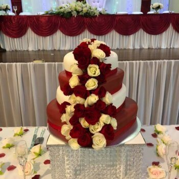 4 tier heart shaped wedding cake