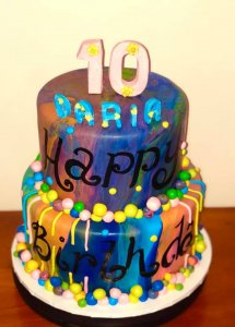 2 Tier Multi Coloured Birthday Cake