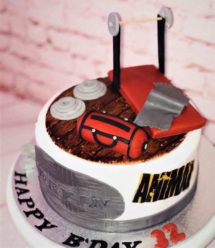 gym birthday cake