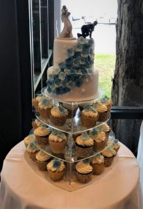 2 tier wedding cake with cupcake tower