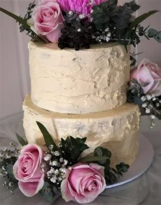 2 tier buttercream wedding cake