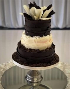 3 tier pure chocolate wedding cake