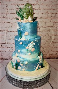3 tier beached themed wedding cake