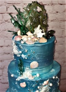 3 tier beach themed wedding cake