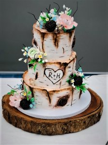 3 Tier Light Themed Log Wedding Cake