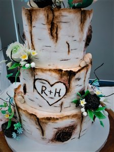 3Tier Log Themed Wedding Cake