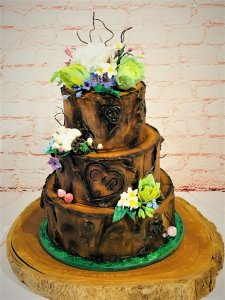 Log Themed Wedding Cake
