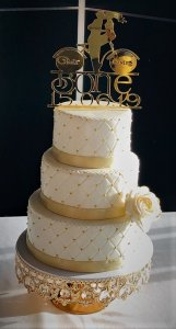 Studded Pattern 3 Tier Wedding Cake