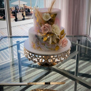2 tier wedding cake with gumpaste flowers by rimma's wedding cakes perth