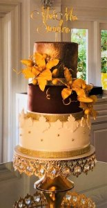 3 white gold and brown wedding cake with gold sugar paste flowers by rimma's wedding cakes perth