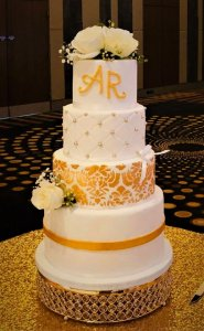 4 tier white and gold wedding cake by rimma's wedding cakes perth