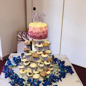 Rimma's Wedding Cakes Perth buttercream wedding cupcake tower with custom topper and fresh flowers